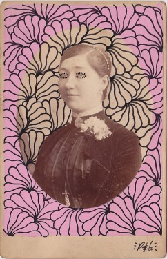 Vintage photo of a portrait of a woman decorated with pens.