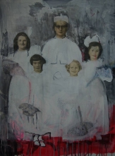 Painting of a priest with four girls dressed in white.