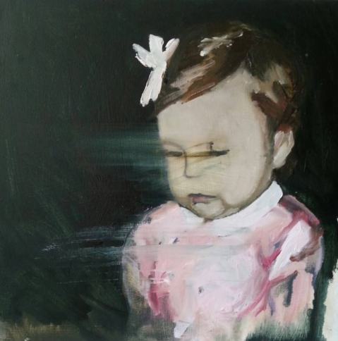 Paintings of a baby girl portrait with a pink dress.