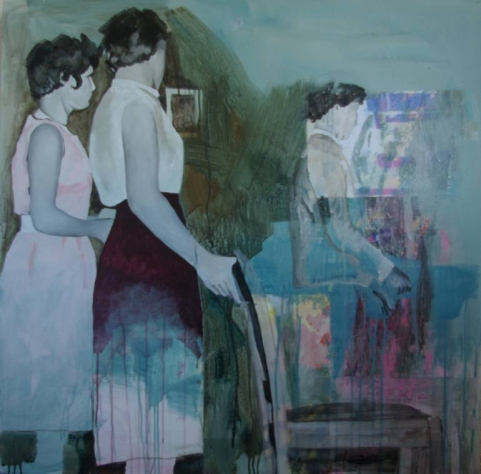 Painting of three women indoor with a chair.
