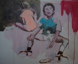 Paintings of two kids. One of them is seen from the back.