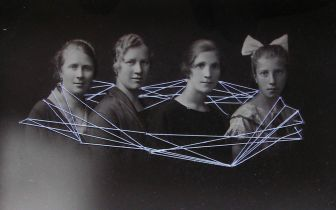 Vintage photo of a group of women stitched with white thread.