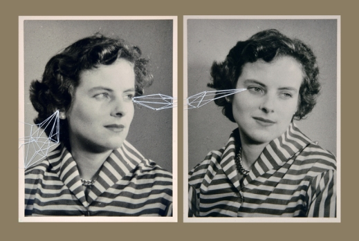 Double portrait (two vintage photos) of a woman stitched with white thread.