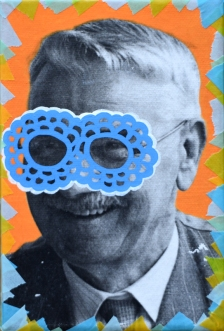 Collage of a masked smiling man portrait decorated with pens and washi tape.