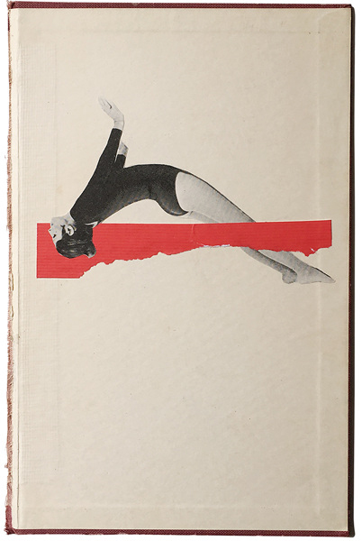 Photo of an handmade collage of an athlete woman jumping over a red piece of paper.