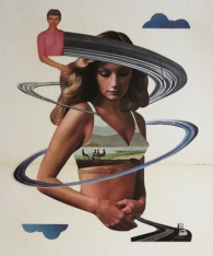 Photo of an handmade collage of a woman with a landscape in her bra.