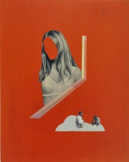 Photo of an handmade collage of a defaced woman on a red background.