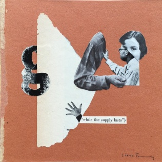 Photo of an handmade collage of human body parts, paper, a man and a woman half face in a brown background.