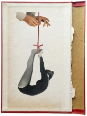 Photo of an handmade collage of a woman hanged from her feet.
