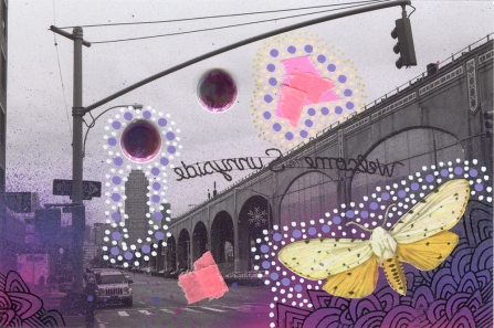 Collage on landscape photo created with mixed media materials.