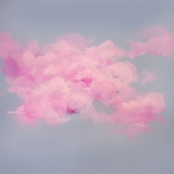 Painting of a group of clouds coloured in pink over a grey background.