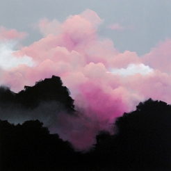 Painting of a group of clouds coloured in pink and black.