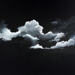 Painting of a group of clouds coloured in black and white.