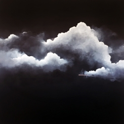 Painting of a group of clouds coloured in white.