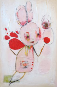Mixed media artwork of an illustrated creature coloured with pastel pink, green and red.