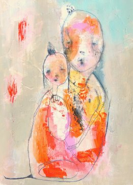 Mixed media artwork of a couple of illustrated creatures coloured with bright yellow, orange, red and pink.