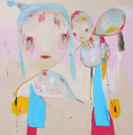 Mixed media artwork of two illustrated creatures coloured with bright light blue, purple, pink and yellow.
