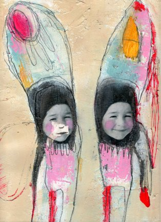 Mixed media artwork of two collages faces of smiling babies decorated with a pencil illustration.