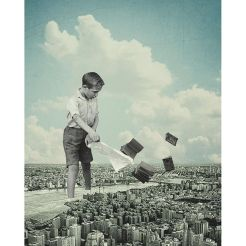 Surrealist collage of a ginat kid playing with books over a city landscape.