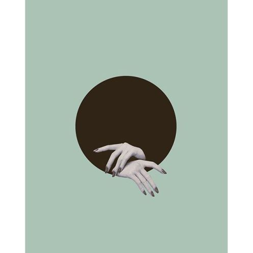 Surreal collage of two woman hands coming out from a giant black hole.