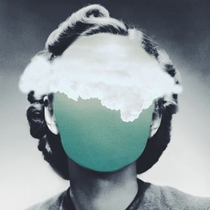 Surrealist collage of a defaced woman with a sky and clouds over her face.