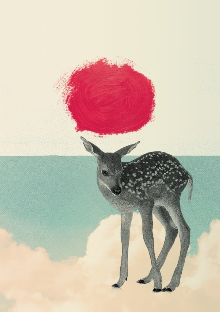 Surrealist collage of a baby deer floating over a cloudy sky with a painted giant red dot over her.