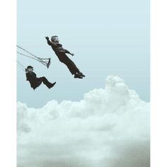 Surrealist collage of two kids on the swing floating in the sky.