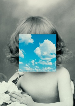 Surrealist collage of a baby girl with the face covered by a squared sky paper cut.