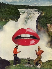 Surreal collage of two men having a coffee and staring at a giant mouth putted over a natural landscape.