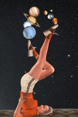 Surreal collage of a woman playing with planets over a universe/cosmic background.