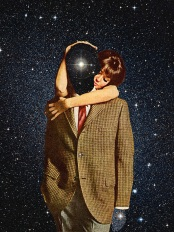 Surreal collage of a woman holding a man from his back. The man is faceless and there is the universe background covering is face.