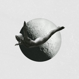 Surreal collage of a woman in bath suit with a giant moon as a background.