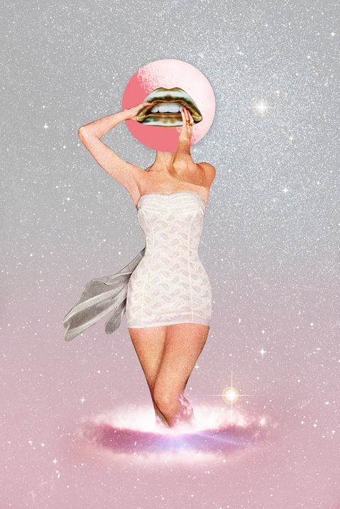 Surreal collage of a defaced woman in bath suit surrounded by a shiny pink and grey sky.