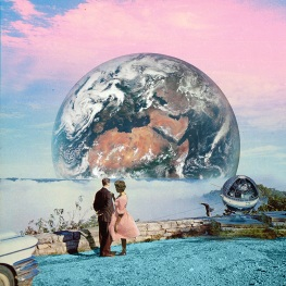 Surreal collage of a couple staring ad a huge planet behind them.