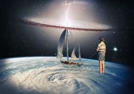 Surreal collage of a kid seen from his back that is staring at a boat posed over a planet.