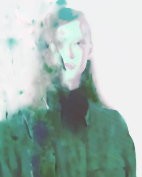 Blurry woman portrait with a green coat.