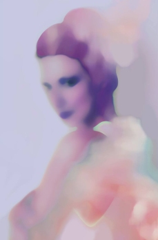 Blurry woman portrait coloured with pastel purple, pink and orange.