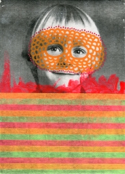 Collage of a masked child portrait decorated with fluorescent colours.