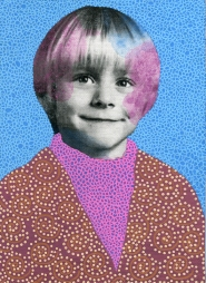 Collage of a child portrait decorated with brown, pink and blue pens.