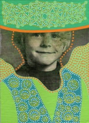 Collage of a child portrait decorated with green and orange pens.