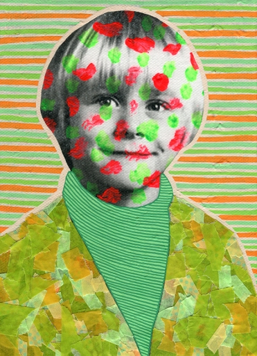 Collage of a child portrait decorated with fluorescent colours.
