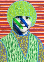 Collage of a child portrait decorated with green and blue colors, with a striped background.