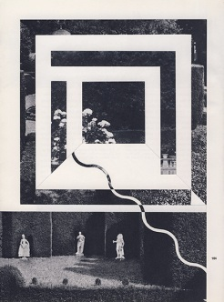 Collages of a couple of black and white landscape photos decorated with white geometric forms.