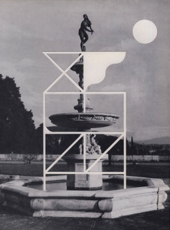 Collage of a black and white photo of a fountain decorated with white geometric forms.