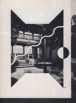 Collage of a picture of a house decorated with simple geometric forms.