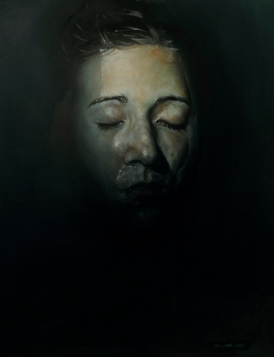 Female portrait painting underwater.