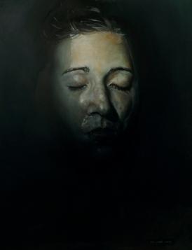 Female portrait painting underwater.