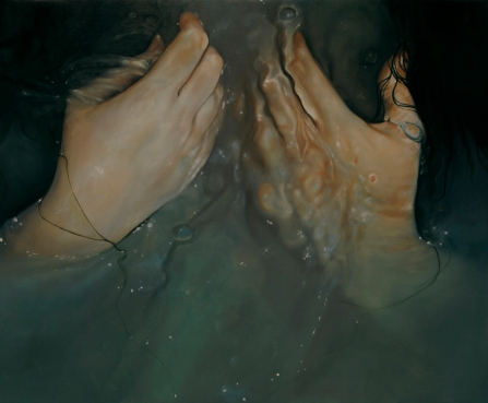 Hands close up portrait painting underwater.