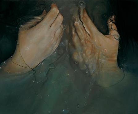 Hands close up portrait painting underwater.