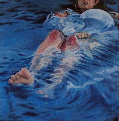 Female portrait paintings underwater.